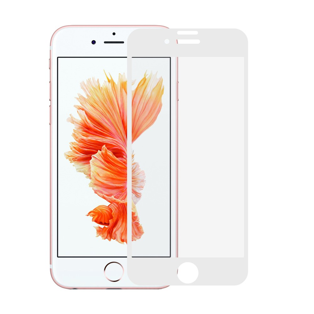 Image of   Apple iPhone 7/8 Plus Silk Print Full-Size Hærdet Glas - Hvid