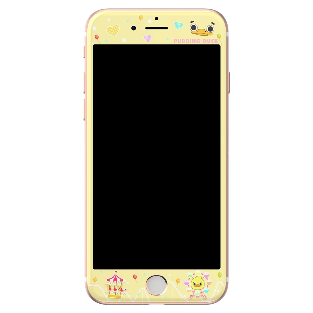 Image of Apple iPhone 7/8 KINGXBAR Hærdet Glas Skærmbeskyttelse - Gul m. Mønstre