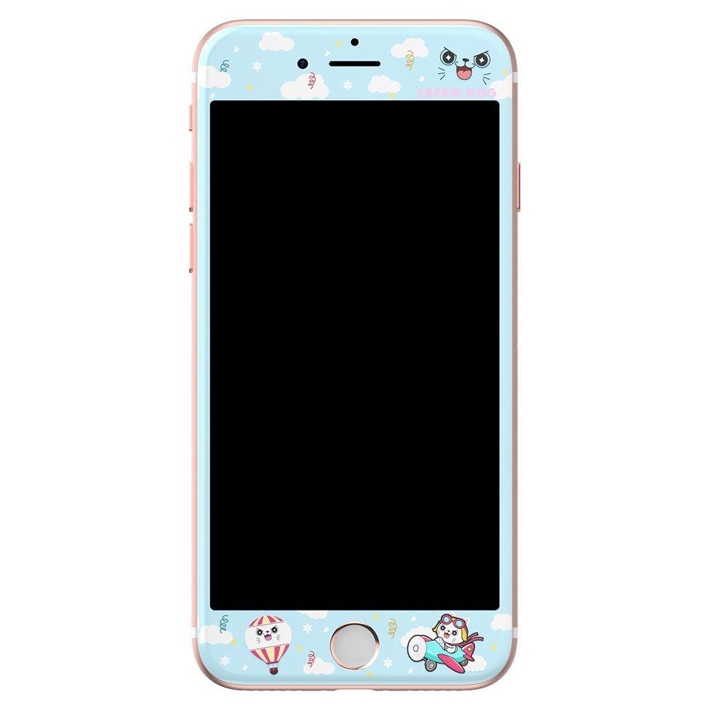 Image of Apple iPhone 7/8 KINGXBAR Hærdet Glas Skærmbeskyttelse - Blå m. Mønstre