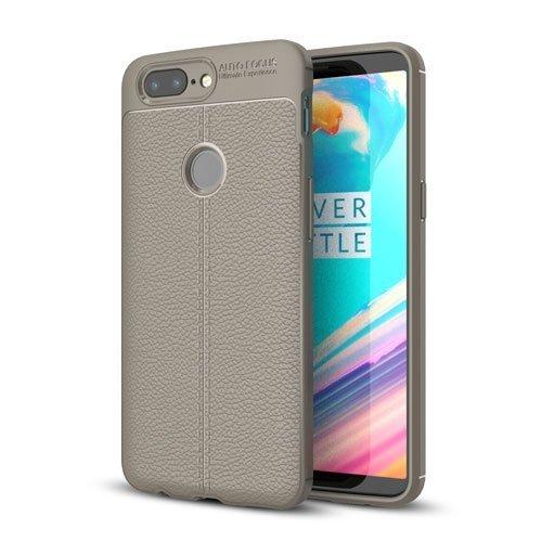 Billede af OnePlus 5T TPU Cover med Læderbagside - Grå
