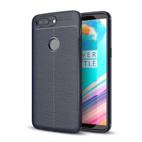 OnePlus 5T TPU Cover med Læderbagside - Mørk Blå
