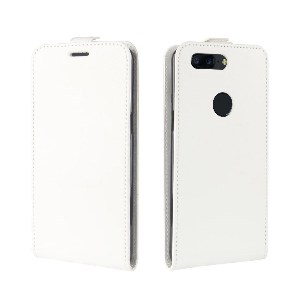 OnePlus 5T PU læder Vertikal Flipcover - Hvid
