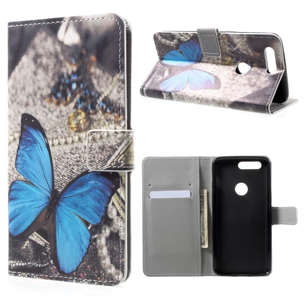 OnePlus 5T PU læder Flipcover m. Kortholder - Blue Butterfly