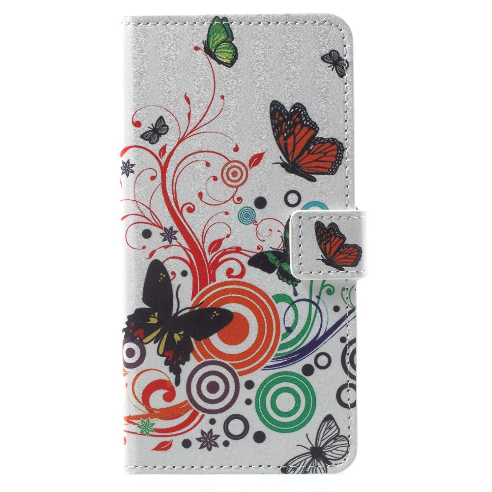 OnePlus 5T PU læder Flipcover m. Kortholder - Butterflies and Circles