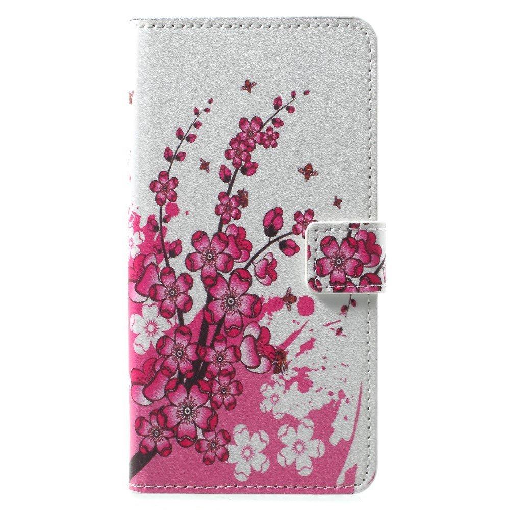 OnePlus 5T PU læder Flipcover m. Kortholder - Plum Blossom