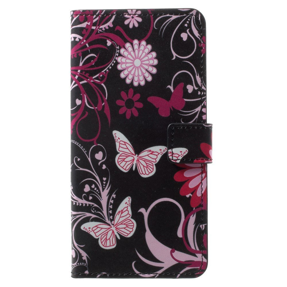 OnePlus 5T PU læder Flipcover m. Kortholder - Butterfly Flower