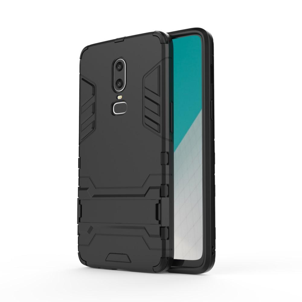OnePlus 6 Hybrid TPU Cover m. stand - Sort