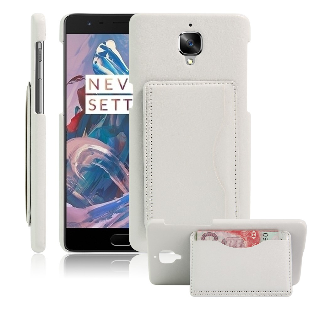 OnePlus 3/3T Læder Bagcover m. Stand - Hvid