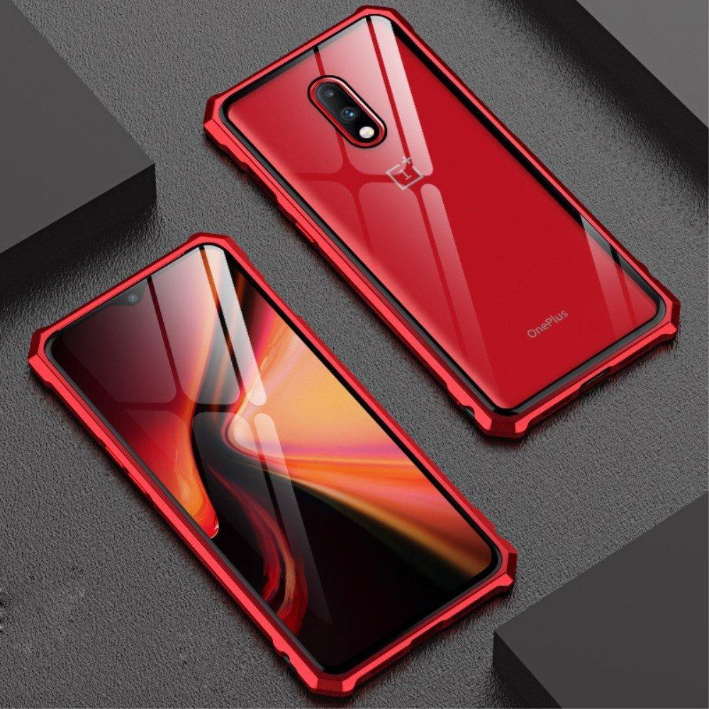 Image of   OnePlus 7 Metalramme m. Glas Bagside - Rød