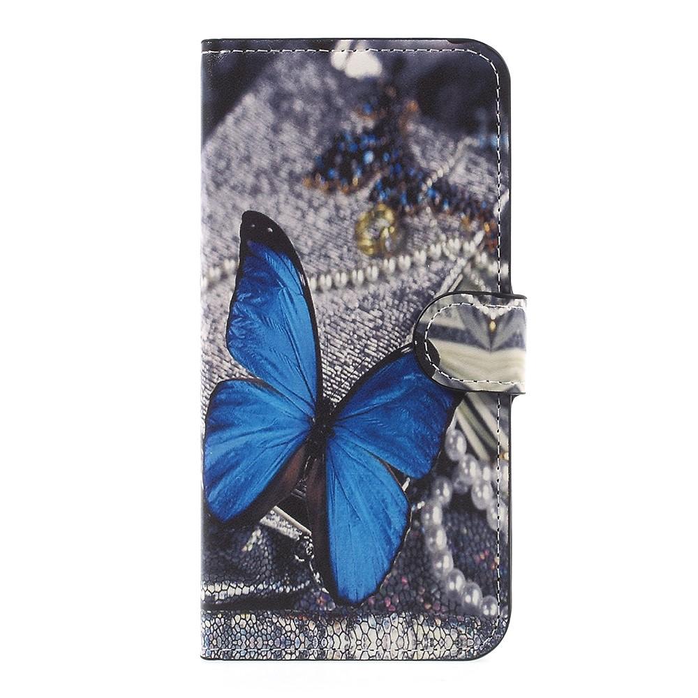 OnePlus 5 PU læder Flipcover m. Kortholder - Blue Butterfly