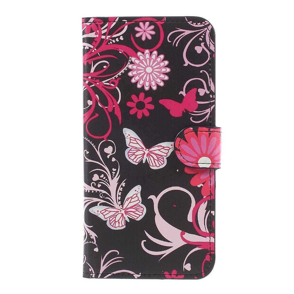 OnePlus 5 PU læder Flipcover m. Kortholder - Floral Butterflies