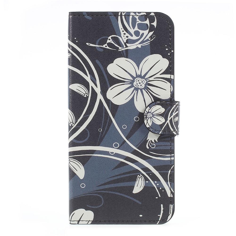 OnePlus 5 PU læder Flipcover m. Kortholder - White Flower