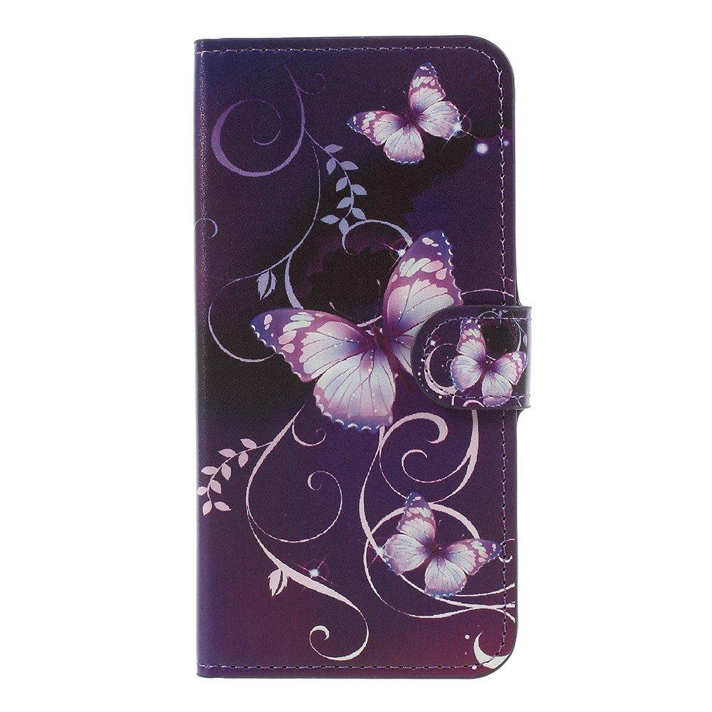 Image of   OnePlus 5 PU læder Flipcover m. Kortholder - Purple Butterflies