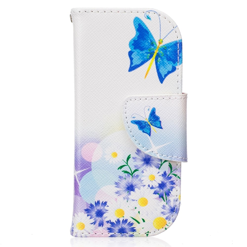 Image of Nokia 3310 (2017) PU Læder FlipCover m. Kortholder - Blue Butterfly and Flowers