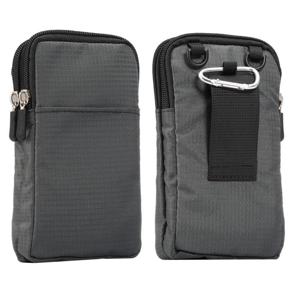 Billede af Bæltetaske Til Smartphones m. Karabinhage & Strop - Mørkegrå