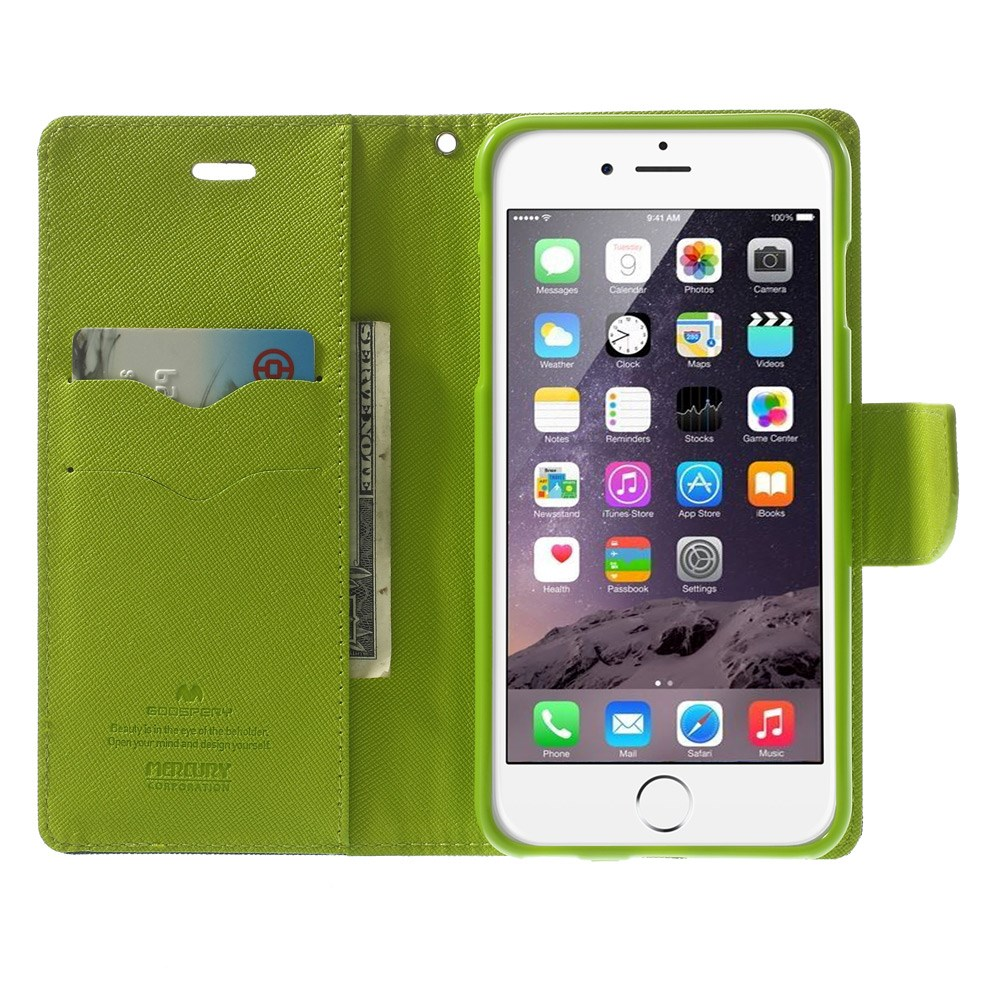 Image of   Apple iPhone 6/6s Plus Dagbogs Flip Cover m. Stand - Grøn