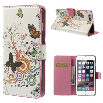 Billede af Apple iPhone 6/6s Plus Design Flip Cover Med Pung - Vivid Butterfly