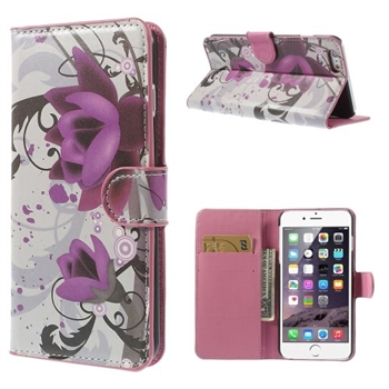 Image of   Apple iPhone 6/6s Plus Design Flip Cover Med Pung - Lotus Flower