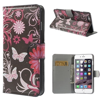 Image of Apple iPhone 6/6s Plus Design Flip Cover Med Pung - Butterfly Flowers