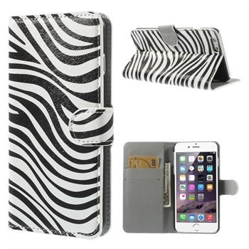 Image of   Apple iPhone 6/6s Plus Design Flip Cover Med Pung - Zebra