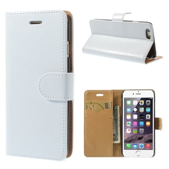 Apple iPhone 6/6s Stylish Flip Cover Med Pung - Hvid