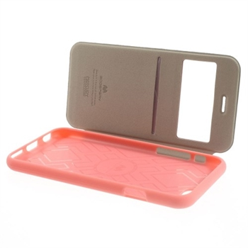 Image of   Apple iPhone 6/6s Bumper Læder Look Med Kortholder - Pink