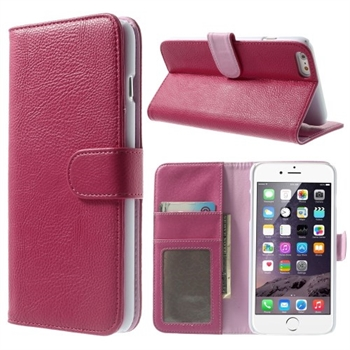 Image of   Apple iPhone 6/6s Plus Litchi Flip Cover Med Pung - Rosa