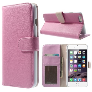 Image of   Apple iPhone 6/6s Plus Litchi Flip Cover Med Pung - Pink