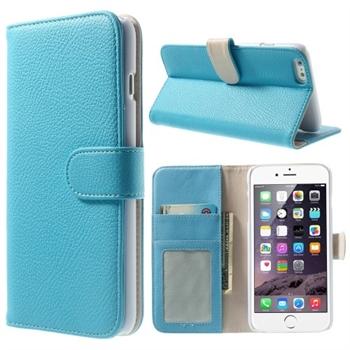 Billede af Apple iPhone 6/6s Plus Litchi Flip Cover Med Pung - Lys Blå