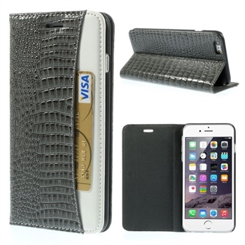 Image of   Apple iPhone 6/6s Plus Croco Flip Cover Med Pung - Grå