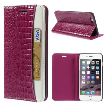 Image of   Apple iPhone 6/6s Plus Croco Flip Cover Med Pung - Rosa
