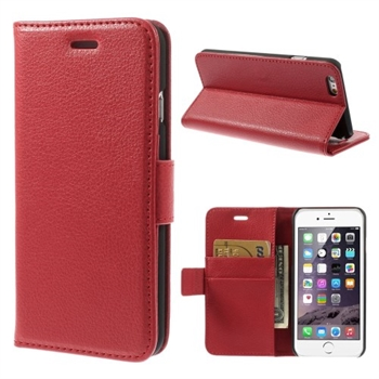 Image of   Apple iPhone 6/6s Litchi Flip Cover Med Pung - Rød
