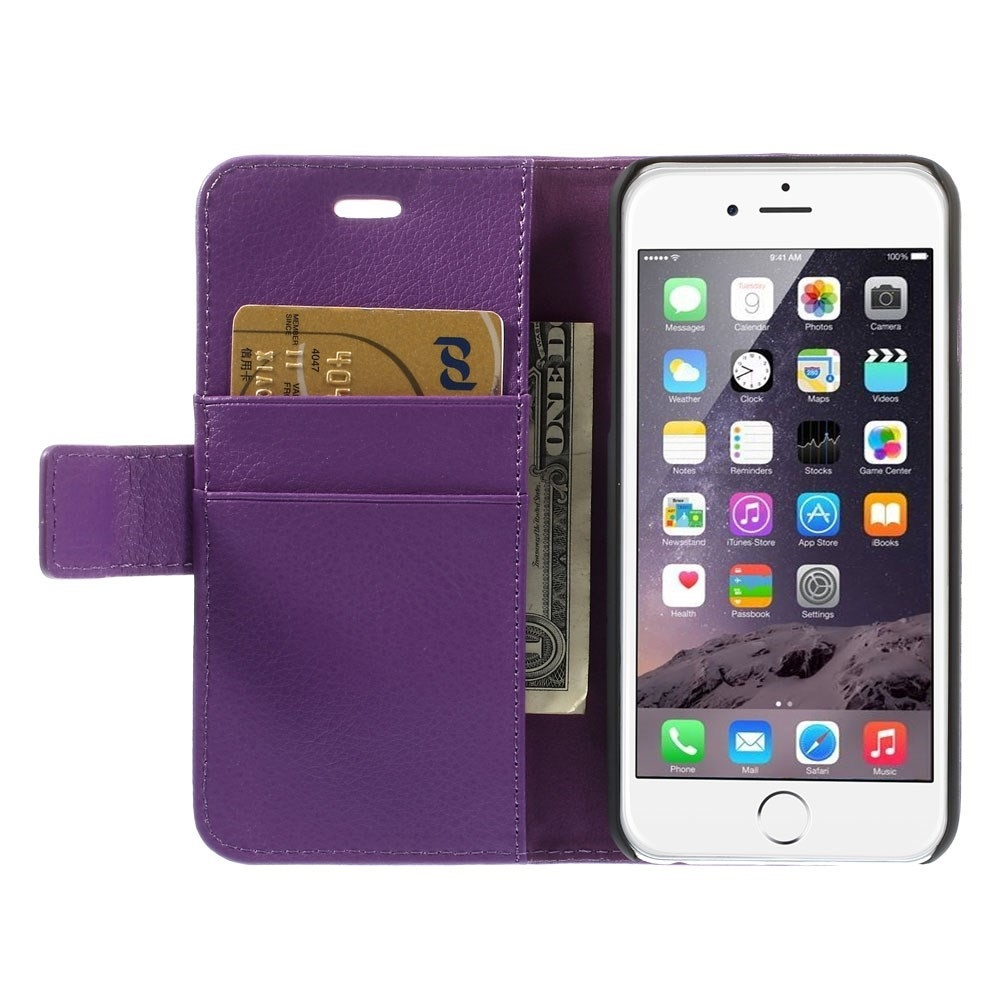 Image of   Apple iPhone 6/6s Litchi Flip Cover Med Pung - Lilla