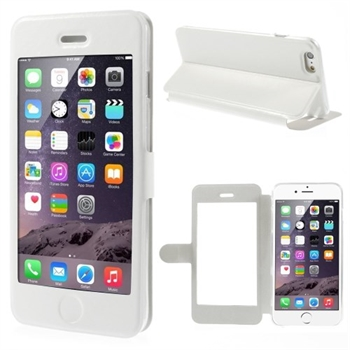 Image of   Apple iPhone 6/6s Plus Full Window Flip Cover - Hvid
