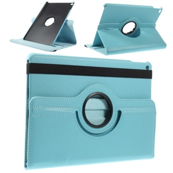 Image of   Apple iPad Air 2 Rotating Litchi Smart Cover Stand - Lys Blå