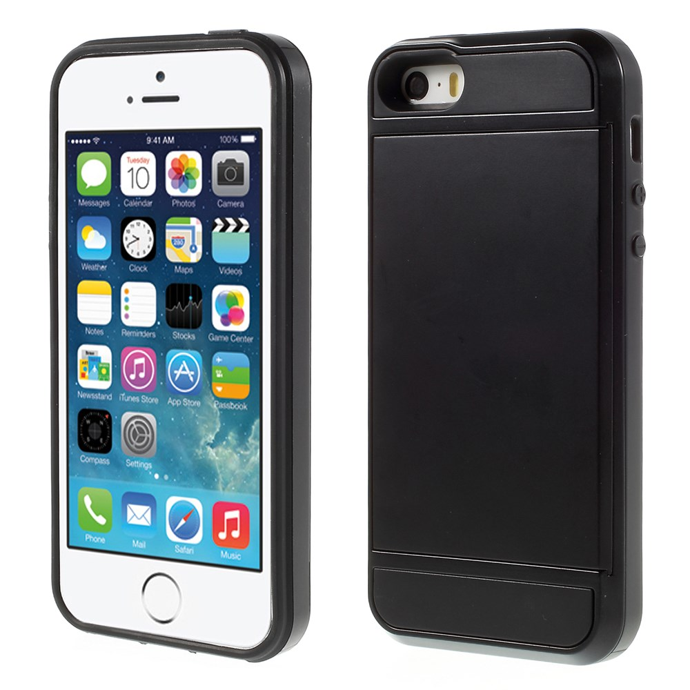 Image of   Apple iPhone 5/5s/SE Hybrid Cover m. Kortholder - Sort