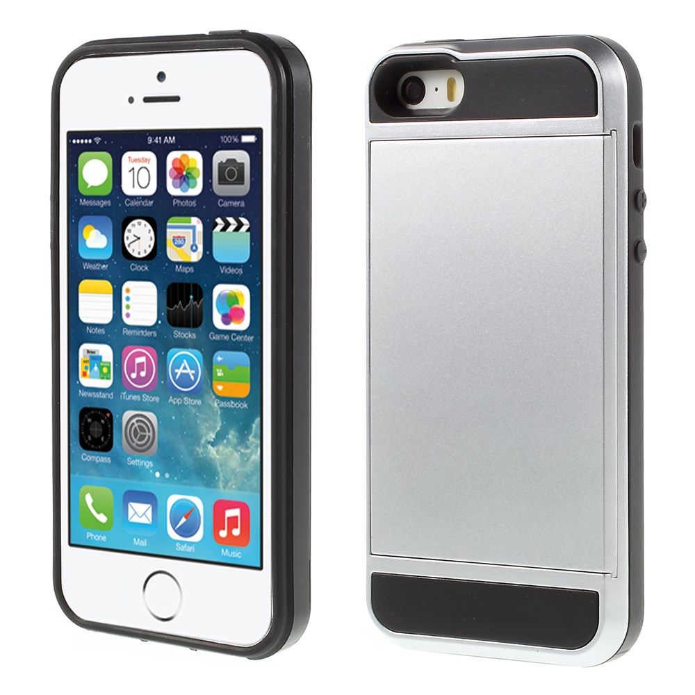 Image of   Apple iPhone 5/5s/SE Hybrid Cover m. Kortholder - Sølv