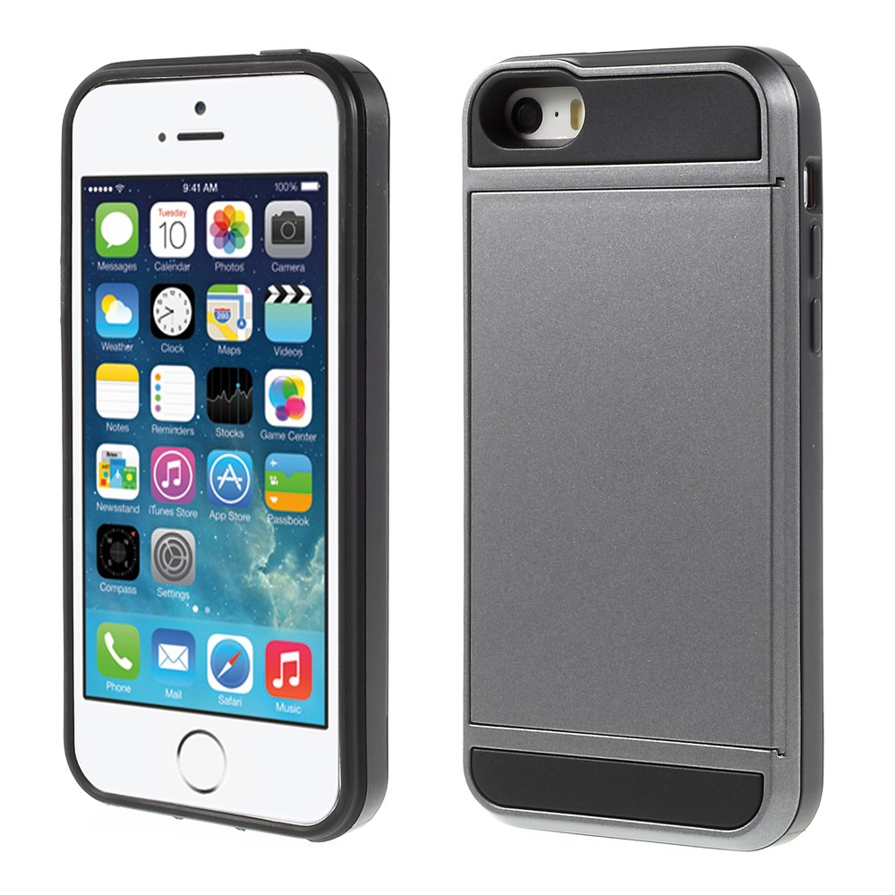 Image of   Apple iPhone 5/5s/SE Hybrid Cover m. Kortholder - Grå