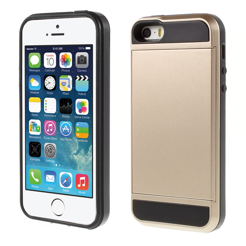 Image of   Apple iPhone 5/5s/SE Hybrid Cover m. Kortholder - Guld