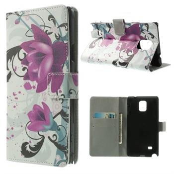 Billede af Samsung Galaxy Note 4 Design Flip Cover Med Pung - Lotus Flowers