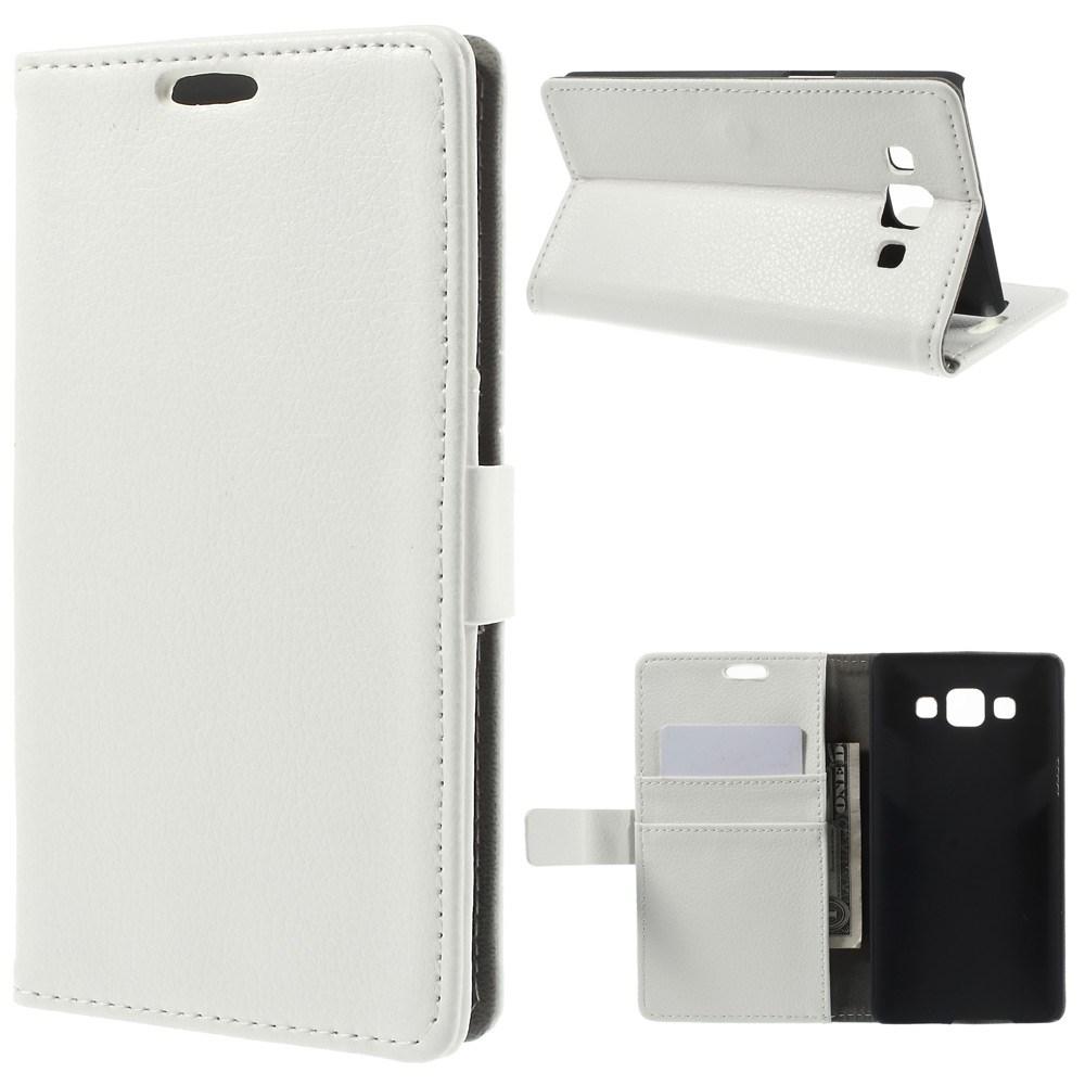 Billede af Samsung Galaxy A5 Litchi Læder Cover, Stand & Pung Kombineret - Hvid