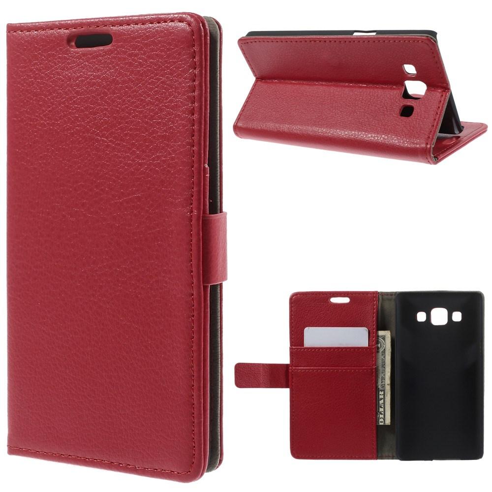 Billede af Samsung Galaxy A5 Litchi Læder Cover, Stand & Pung Kombineret - Rød