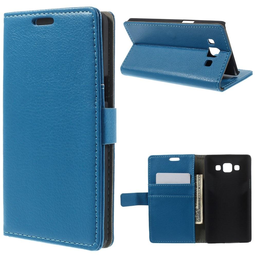 Billede af Samsung Galaxy A5 Litchi Læder Cover, Stand & Pung Kombineret - Blå