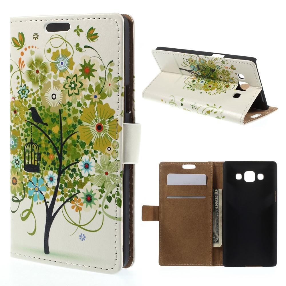 Billede af Samsung Galaxy A5 Læder Cover, Stand & Pung Kombineret - Flower Tree Summer