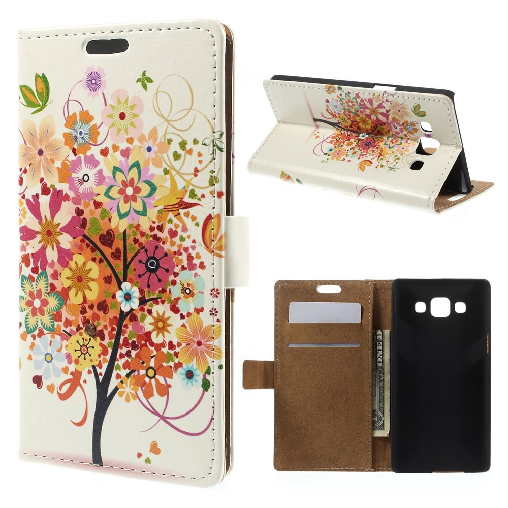 Billede af Samsung Galaxy A5 Læder Cover, Stand & Pung Kombineret - Flower Tree Autumn