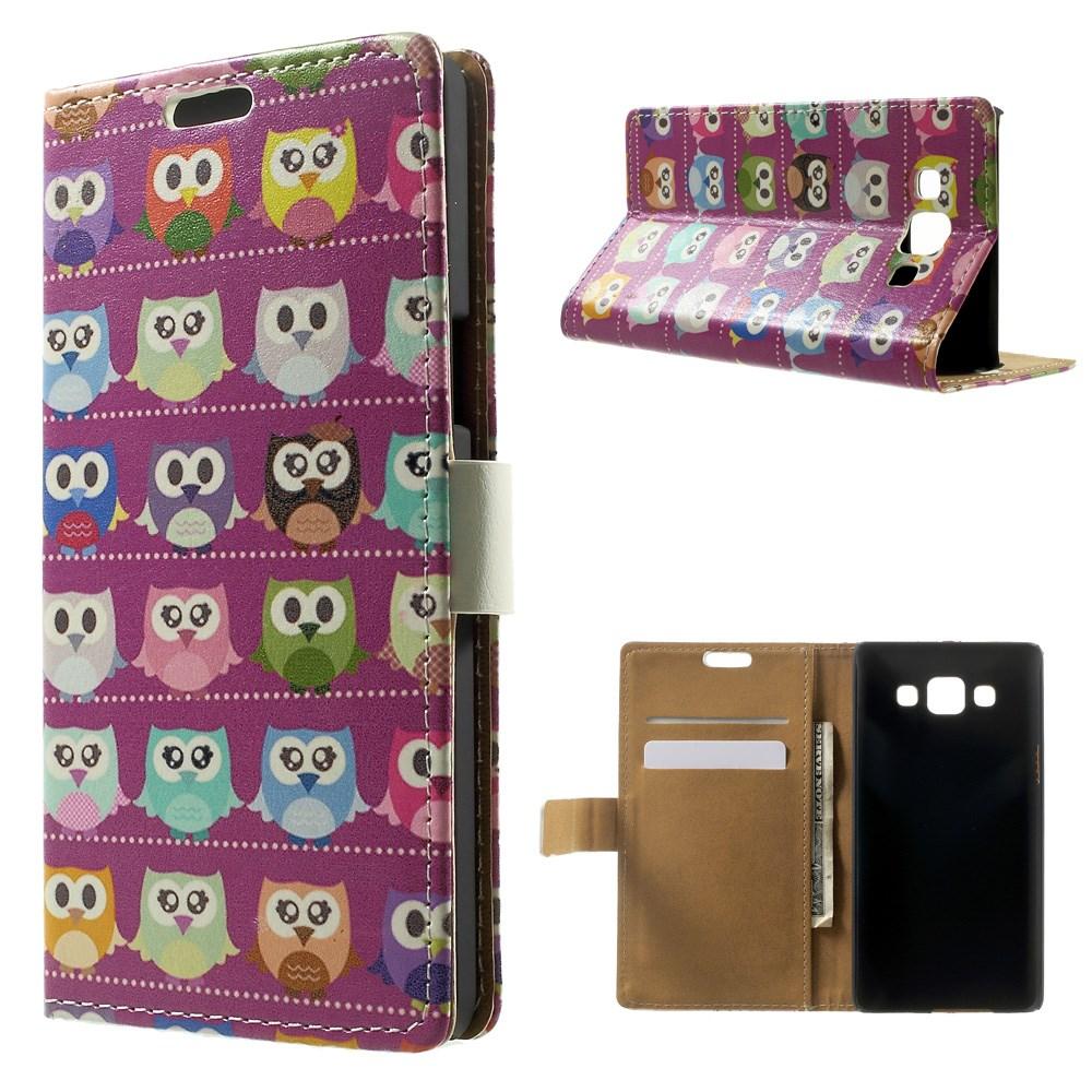 Billede af Samsung Galaxy A5 Læder Cover, Stand & Pung Kombineret - Owls