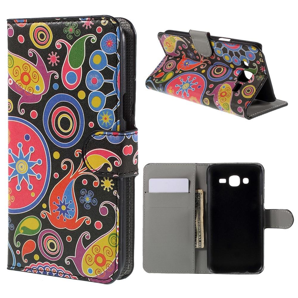 Billede af Samsung Galaxy J5 Design Flip Cover m. Pung - Paisley Pattern