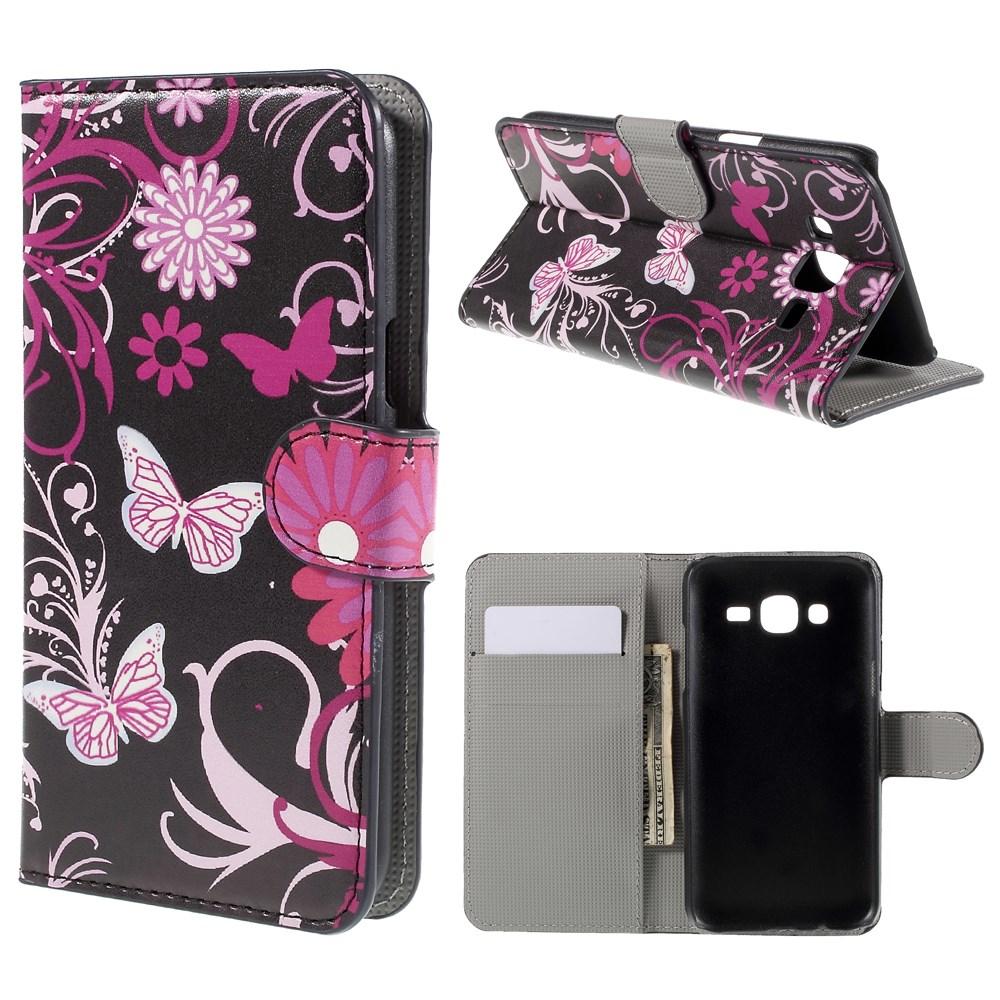 Billede af Samsung Galaxy J5 Design Flip Cover m. Pung - Butterfly Flowers