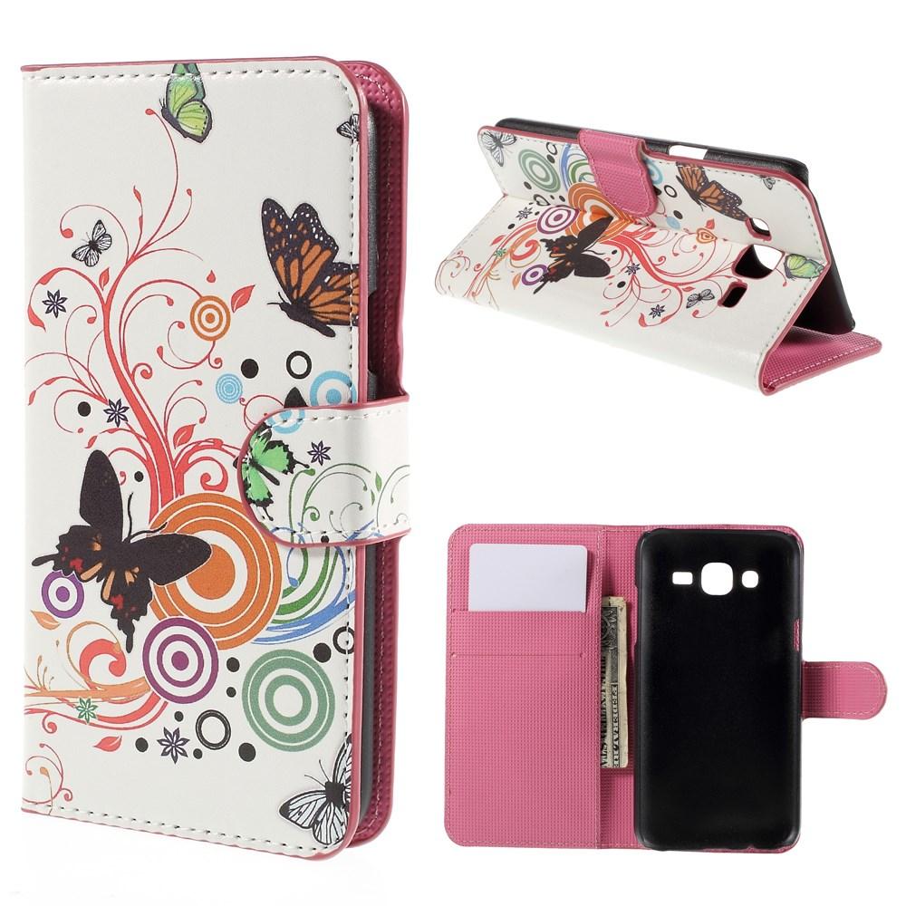 Billede af Samsung Galaxy J5 Design Flip Cover m. Pung - Butterfly Circles
