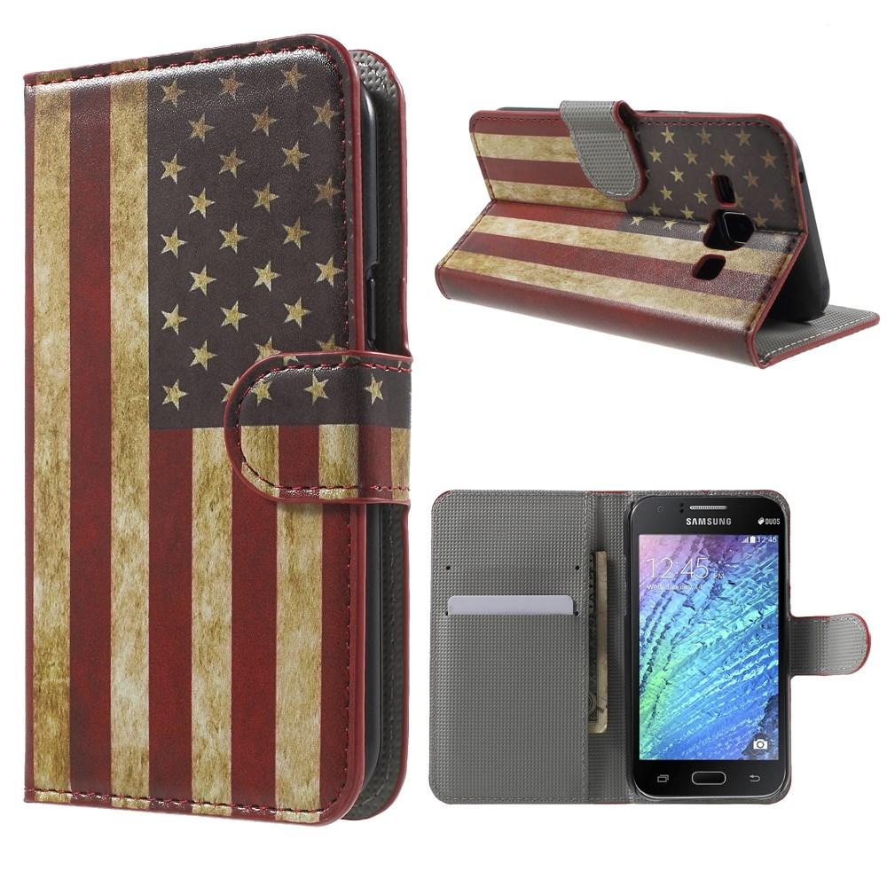 Billede af Samsung Galaxy J1 Design Flip Cover m. Stand - Stars & Stripes